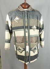 Coloratura Wool Blend Southwestern Coat Jacket Native American M L Tan Gray USA