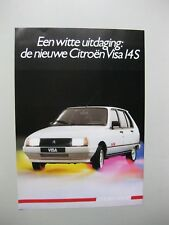 Citroen Visa 14S single sheet brochure Prospekt Dutch text 2 pages 1985