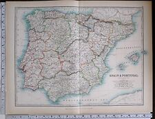 1903 LARGE MAP SPAIN & PORTUGAL MAJORCA VALENCIA MURCIA ANDALUCIA MALAGA GALICIA