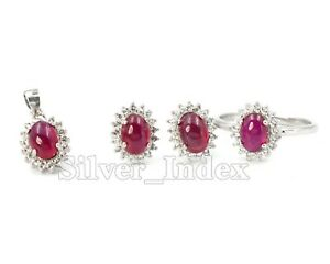 Ruby Cabochon Natural Gemstone 925 Sterling Solid Silver Jewelry Set For Women
