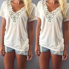 Women Summer Casual Short Sleeve Lace Tank Top V Neck Girls Blouse Shirt