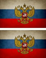 2x Sticker flag vinyl country vintage russia eagle russian