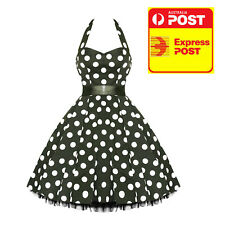 Hearts and Roses Black and White Polka Dot Halter Dress Vintage 8-20