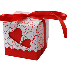 50/100Pcs Love Heart Bridal Wedding Party Favor Ribbon Gift Box Candy Boxes Bags