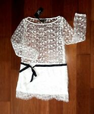 4ce5ee79b2065 ANTHROPOLOGIE WHITE CROCHET/BLACK RIBBON LONG SLEEVE MINI DRESS MEDIUM
