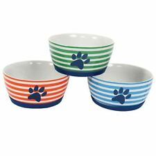 Paw Print Pet Bowl Dish Stripe Ceramic Silicone Base New Orange Blue Green