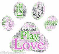 Personalised Word Art Print paw cat dog animal mum freind birthday gift card