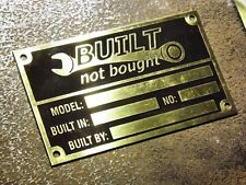 Gold brass Built Not Bought custom manufacturer vin name plate etched