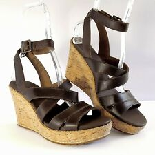 2db3f9401279 TIMBERLAND Women s Wedges Sandals Brown Leather Heels Shoes Ankle Strap  sz.9 NEW