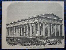 POSEIDONTEMPEL PAESTUM / Italien / ITALIA. Originaler Holzstich 1880