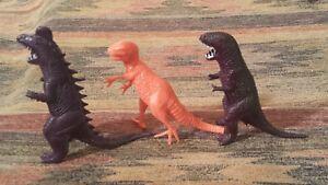 """3 Assorted Dinosaur Figures  Kid Toys - 4"""" Tall - Vintage 1995"""
