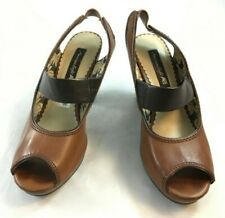 American Eagle AE Womens Size 6 M  Brown Peep Toe Mary Jane Sling Back Pumps