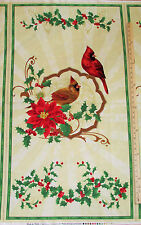 "Deck the Halls Red Yellow Cardinal Poinsettia Christmas Fabric Panel 23""  #28081"