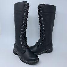 Timberland 14 Inch Premium Black Waterproof Side Zip Lace Boots Women's Size 6.5