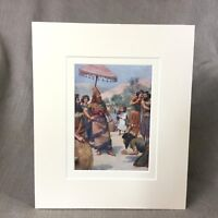 1890 Antique Victorian Print  King David The Judgment Of Shimei Bible Story