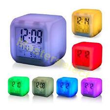 3x  Reveil digital cube lumineux qui change de 7 couleurs pour bureau chambre