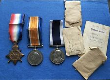 WW1 1914-15 Star British War & Long Service Medals  R.N. W. Cheffers #165882