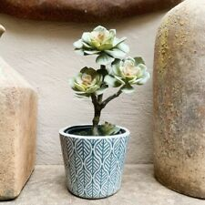Artificial Potted Succulent Flower, Realistic Green Faux Leaf Houseplant