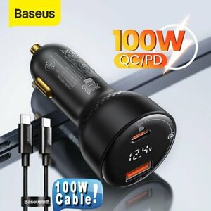 Baseus 100W USB Type-C Car Charger Cigarette Lighter Socket Cable 2 Adapter Kit