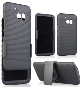 BLACK HARD CASE COVER + BELT CLIP HOLSTER STAND FOR HTC 10 ONE M10 LIFESTYLE