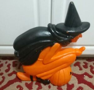 "Vint Blow Mold Witch Pumpkin on Broom Light 20"" Halloween Don Featherstone"