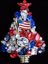 RED WHITE BLUE RHINESTONE POLITICAL USA STAR CHRISTMAS TREE PIN BROOCH JEWELRY