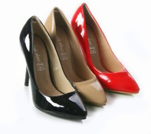 LADIES WOMENS PATENT HIGH HEEL COURT PARTY WORK OFFICE SHOES SIZES 3-8