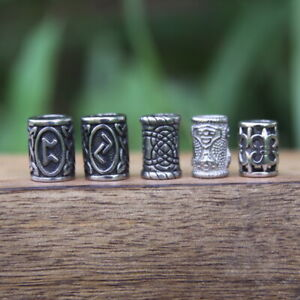 5 Viking Style Dreadlock Hair / Beard Beads 6/7mm Hole (1/4-9/32')A Norse Dread