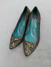Irregular Choice Brocade Black Gold Slip on shoes Size 6  Low Kitten Heel Schu