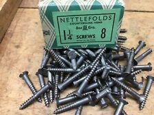 "50  NETTLEFOLDS 1 1/4"" x 8 STEEL COUNTERSUNK SLOTTED HEAD WOOD SCREWS NOS GKN"