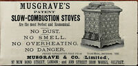 Musgrave & Co. London & Belfast Musgrave's Patent Slow-Combustion Stoves Ad 1884