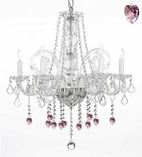 Crystal Chandelier Chandeliers Lighting With Pink Crystal Hearts H25