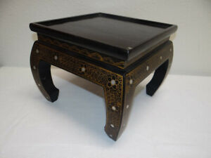 Vtg Chinese Oriental Black Lacquer Wood Base Stand Pedestal Table Square