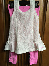 DKNY BABY GIRLS CREAM TOP AND PINK PANTS SIZE 24M NEW