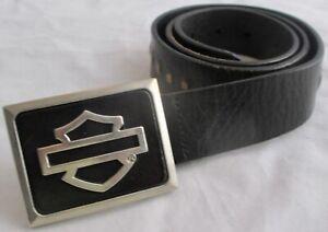 Harley-Davidson Black Leather Belt w/Shield Logo Buckle Size 32 9762705V/3200