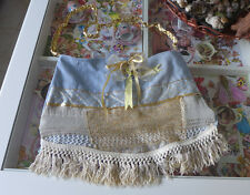 Bag Handmade Quilted Cotton Purse 17x13inch Blues+ Gold tote Lace Ribbons Gift