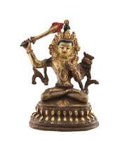 Soprammobile Tibetano Manjushri 10.5 CM IN Rame E Doratura Nepal AFR9-7049