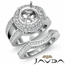 Round Pave Diamond Engagement Ring 18k Gold White Wedding Bridal Setting 2.25Ct
