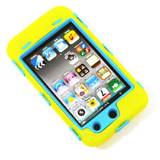 Deluxe Yellow On Blue Body Armor 3-Piece Hard Case For Ipod Touch 4 4th 4G Gen