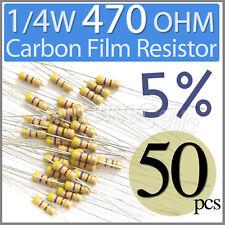 50 pcs Carbon Film Resistors 1/4W 0.25W 0.25 Watt 470 Ohm 470ohm 5%
