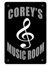 Personalized Music Room Sign Printed with YOUR NAME Aluminum Full color Staff341