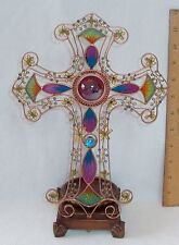 COPPER PLATED CROSS FIGURE/CANDLEHOLDER W/STAINED GLASS LOOK