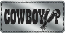 Western Cabin Lodge Barn Stable Decor ~COWBOY UP~ License Plate Metal Sign