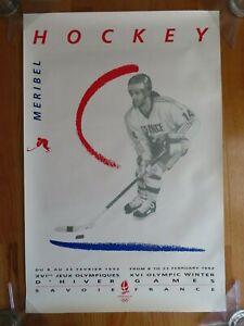 Original 1992 ALBERTVILLE France MERIBEL Museum Poster WINTER OLYMPICS Hockey
