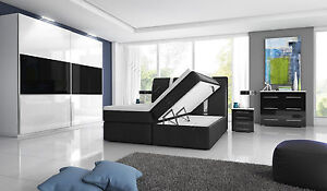Komplett Hochglanz-Schlafzimmer Boxspringbett mit zwei Bettkästen weiß / schwarz