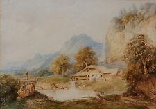 Franz Barbarini, Bauernhof an einem See, Aquarell, 1863, signiert