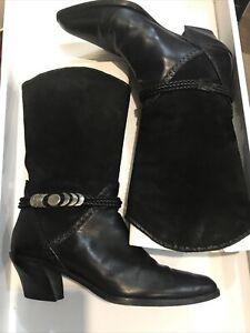 VINTAGE VIA SPIGA | Western Black Cowgirl Boots Size 9