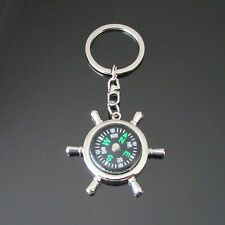 POLISHED CHROME METAL SHIP STEERING WHEEL COMPASS KEY RING KEY CHAIN