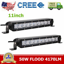 "2X 11""inch 50W Single Row CREE Slim Led Offroad Light Bar FLOOD Boat 4X4WD 10/12"