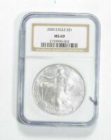MS69 2000 American Silver Eagle - Graded NGC No Spots - Bright White